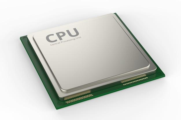 3d 렌더링 cpu 칩 또는 흰색 배경에 마이크로칩
