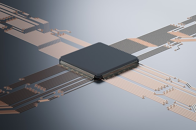 검은 회로 기판에 3d 렌더링 cpu 칩