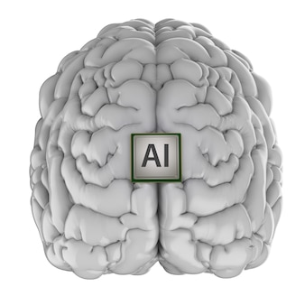 흰색에 고립 된 인공 지능 두뇌와 3d 렌더링 cpu