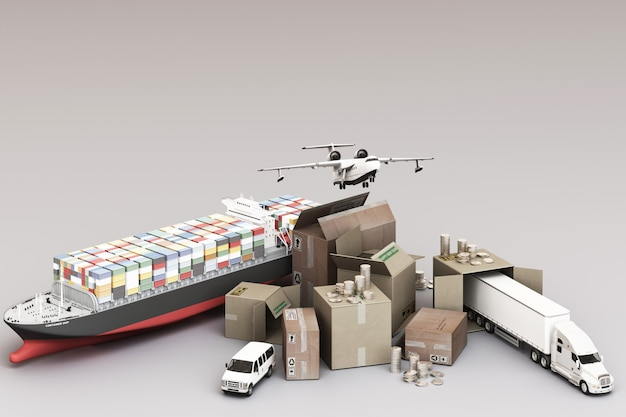 3d rendering of the crate box surrounded by cardboard boxes, a cargo container ship, a flying plan, a car, a van and a truck