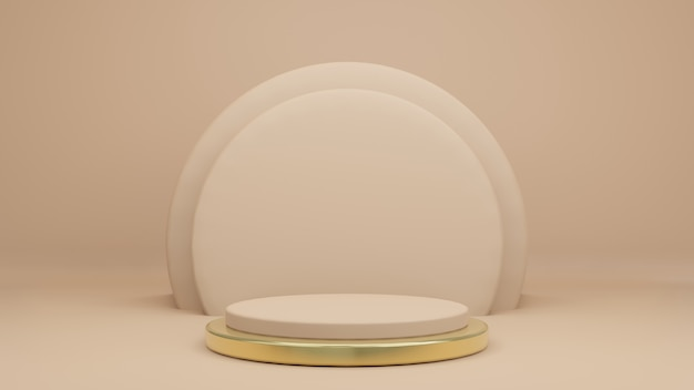 3d rendering of creamy tone and product podium stand with gold ring at bottom