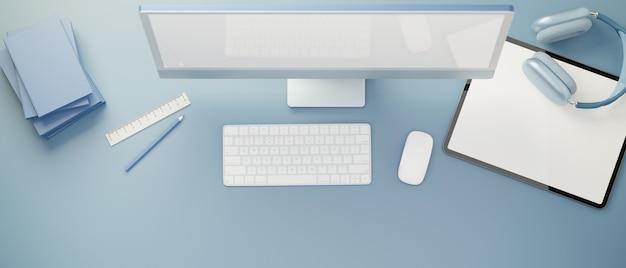 3d-рендеринг творческой плоской планировки рабочего пространства с аксессуарами для цифровых планшетов и канцелярскими принадлежностями на синем фоне