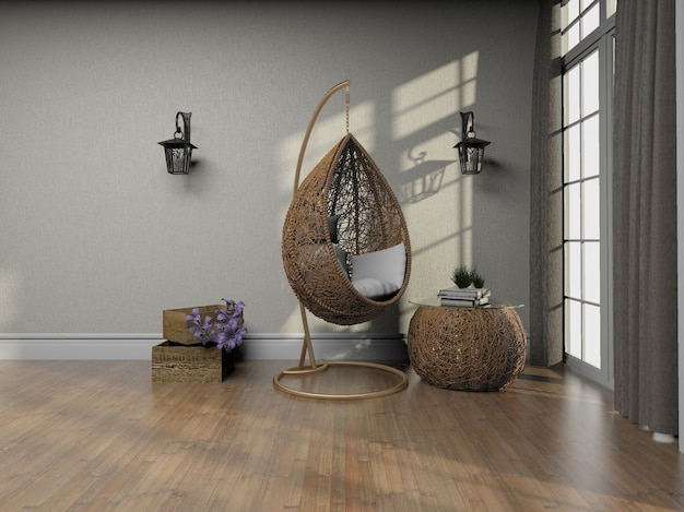 3d рендеринг креативное кресло из ротанга