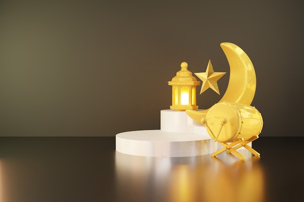 3d rendering of crescent moon and bedug(drum) on the white podium stage for ramadan banner background