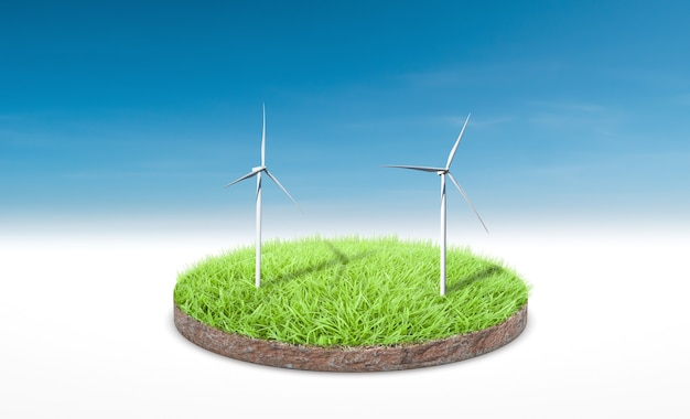 3d rendering. cross section of green grass with wind turbine over blue sky background.