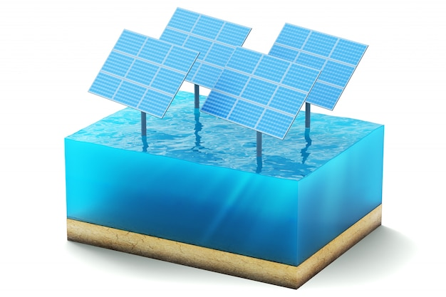 3d rendering of cross section of water cube isolated on white. blue solar panels in the sea producing clean energy