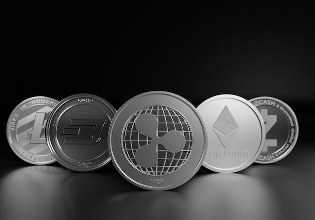 디지털 통화 자산의 ripple xrp 코인 리더가 설정한 3d 렌더링 cryptocurrencies