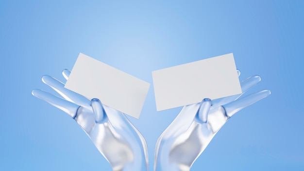 3d-рендеринг кристалл рука держит макет визитной карточки.