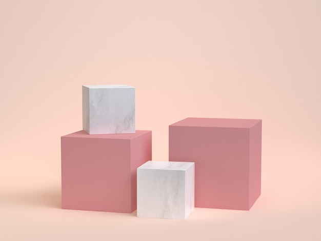 3d rendering cube-box white marble minimal cream