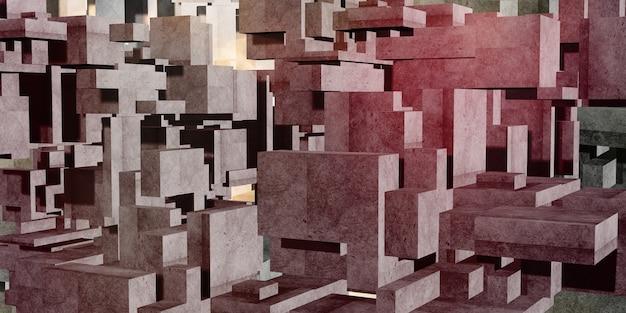 3d 렌더링 큐브 콘크리트 다 색된 배경
