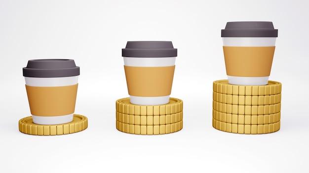 3d-рендеринг чашки кофе на сложенных золотых монетах в порядке возрастания концепции инфляции денег