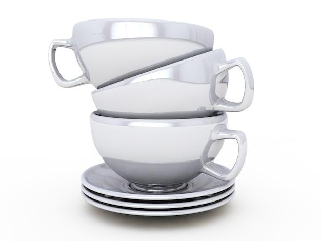 흰색 배경에 3d 렌더링 컵 커피