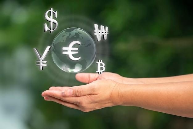 3d визуализация валюты в сложенных руках на фоне фондового рынка финансовая и бизнес-концепция
