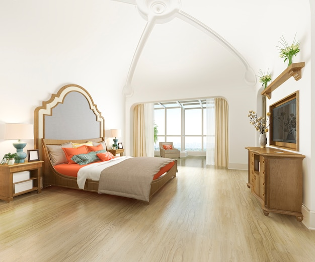 3d rendering curve dome vintage bedroom suite in resort hotel and resort