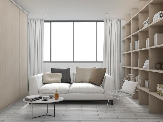 3d rendering cushion living room with bookshelf