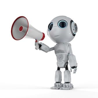 3d 렌더링 귀여운 인공 지능 로봇 잡고 확성기