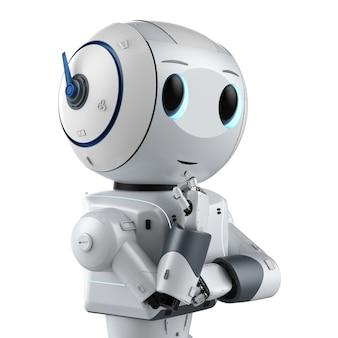 3dレンダリングかわいい人工知能ロボットは白い背景で隔離されていると思います