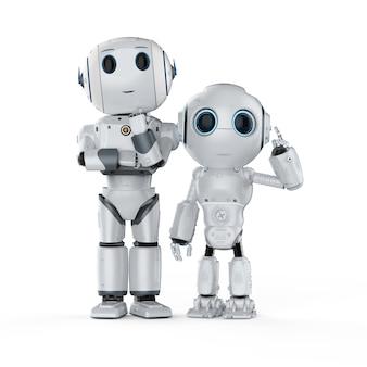 3d 렌더링 귀여운 인공 지능 로봇 생각에 고립 된 흰색 배경