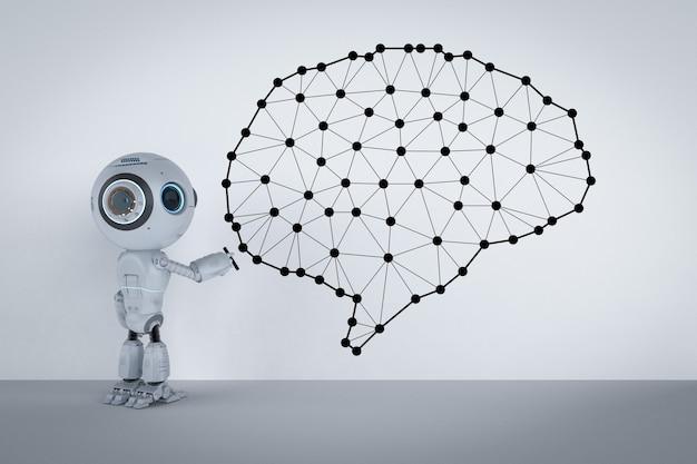 인공 지능 두뇌와 3d 렌더링 귀여운 인공 지능 로봇
