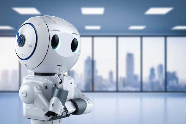 漫画のキャラクター思考でかわいい人工知能ロボットを3dレンダリング