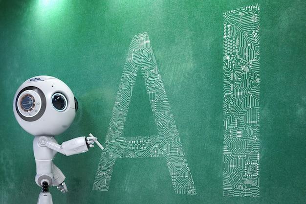 만화 캐릭터와 함께 3d 렌더링 귀여운 인공 지능 로봇
