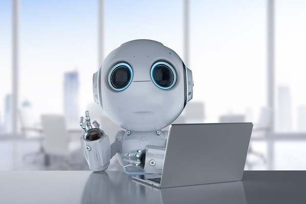 3d-рендеринг симпатичного робота с искусственным интеллектом с компьютерным ноутбуком