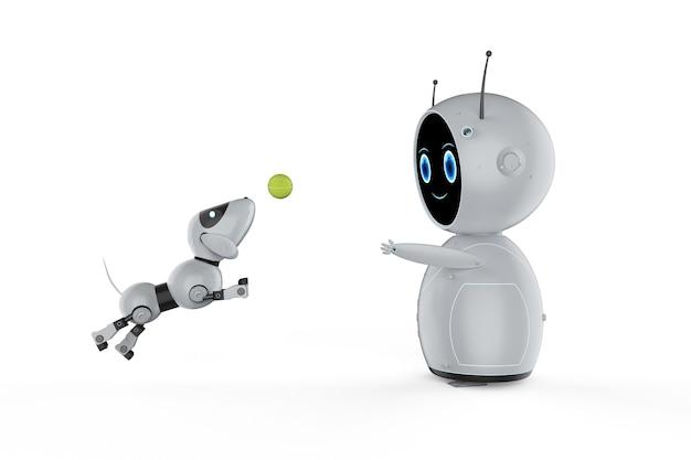 3d-рендеринг симпатичного робота с искусственным интеллектом и собакой-роботом
