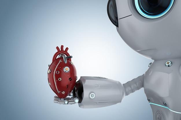 3d 렌더링 빨간색 로봇 심장을 가진 귀여운 인공 지능 로봇