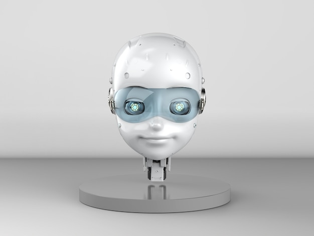 3d rendering cute robot or artificial intelligenceârobot with cartoon characterâon grey background