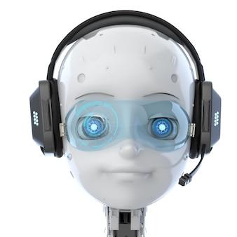 漫画のキャラクターがヘッドセットを着用するかわいいロボットまたは人工知能ロボットの3dレンダリング