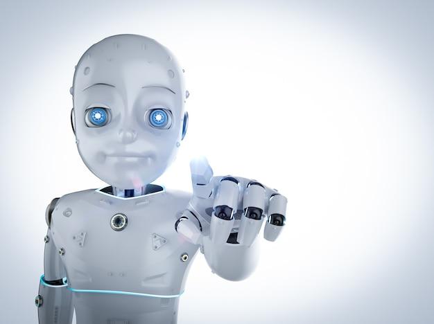 漫画のキャラクターの指先でかわいいロボットまたは人工知能ロボットを3dレンダリング