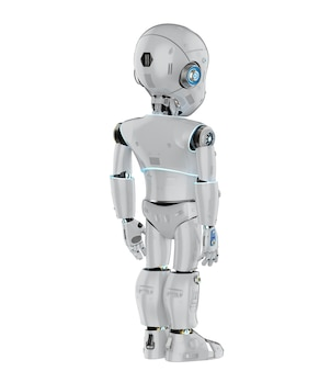 漫画のキャラクターの全長を持つかわいいロボットまたは人工知能ロボットの3dレンダリング