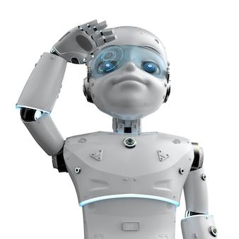3d 렌더링 귀여운 로봇 또는 만화 캐릭터가 있는 인공 지능 로봇 주위를 둘러봅니다.