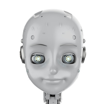 漫画のキャラクターとかわいいロボットまたは人工知能ロボットの3dレンダリング
