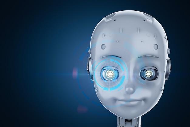 グラフィックディスプレイ付きの漫画のキャラクターとかわいいロボットまたは人工知能ロボットの3dレンダリング