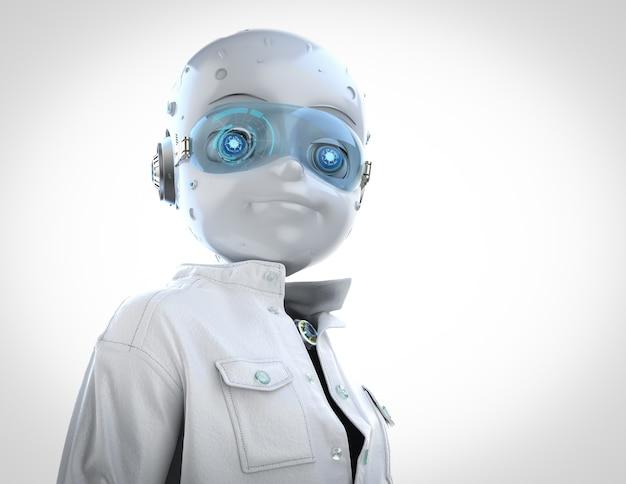 技術者のキャラクターのための3dレンダリングかわいいロボット着用白いジャンプスーツ