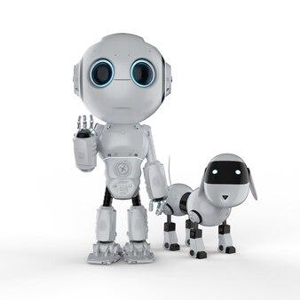 3d-рендеринг милый робот с собакой-роботом на белом фоне