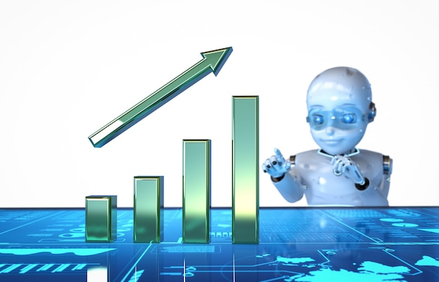 3d rendering cute robot work with growth bar graph display