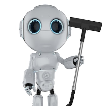 白で隔離のかわいいロボット掃除機の3dレンダリング