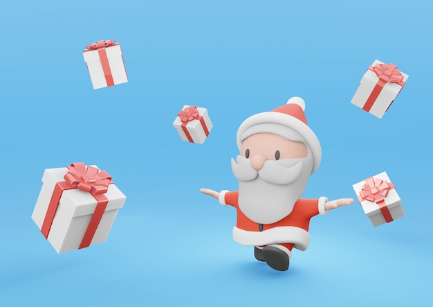 3d rendering cute santa running with white present box on blue background
