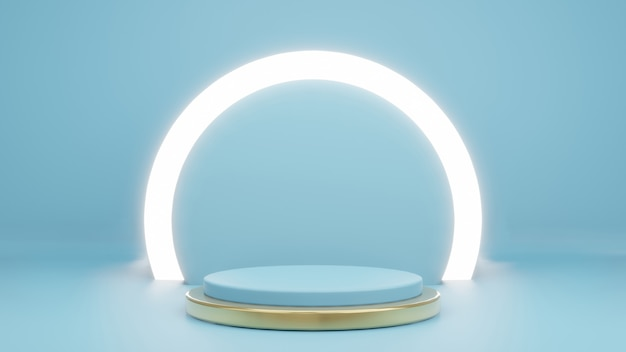 3d rendering of cyan with product stand glow light ring and gold