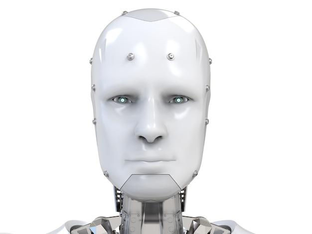 目の中に仮想ディスプレイを備えた3dレンダリングサイボーグ顔