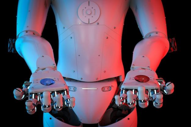 青と赤のカプセルを保持しているサイボーグの3dレンダリング