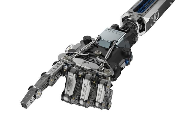 3d 렌더링 사이보그 손 또는 로봇 손 손가락 포인트 화이트 절연