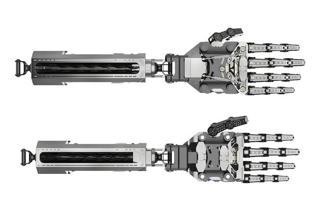 3d-рендеринг руки киборга или руки робота, изолированные на белом