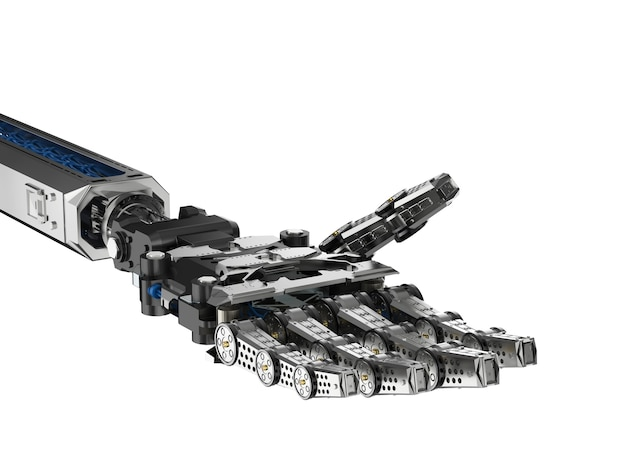 3d 렌더링 사이보그 손 또는 흰색 절연 로봇 손