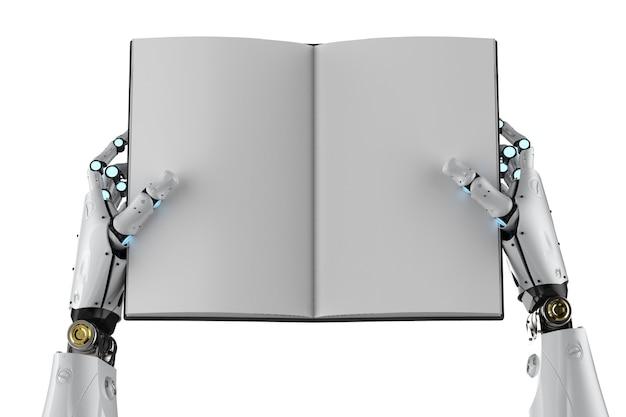 3dレンダリングサイボーグは白で隔離の空白のページの本を保持します