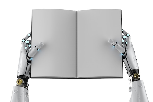 3d rendering cyborg hold blank pages book isolated on white