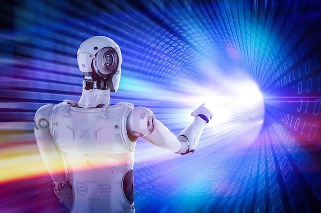バイナリトンネルからの輝く光でサイボーグまたはロボットの指先を3dレンダリング