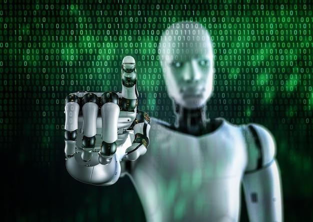 緑のバイナリ背景に輝く光でサイボーグまたはロボットの指先をレンダリングする3d